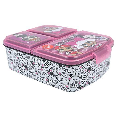Stor LOL Surprise Rock on | Porta merenda a 3 Scomparti per Bambini - Kids Lunch Box - Porta Pranzo