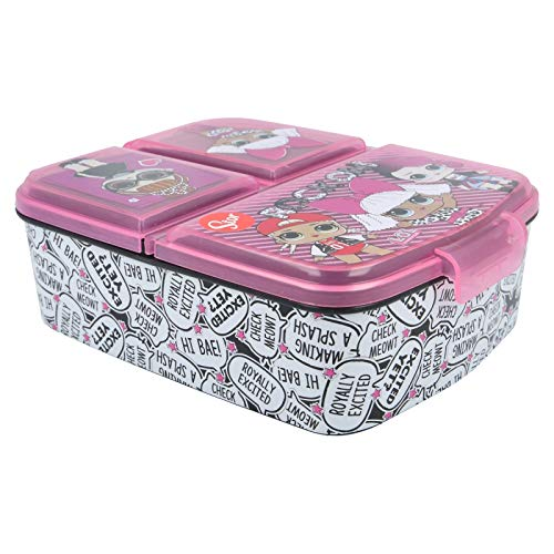 LOL SURPRISE Rock on | Porta merenda a 3 scomparti per bambini - Kids Lunch Box - Scatola Pranzo
