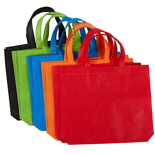 COLORFUL ASSORTMENT: This set of 10 reusable bags comes in 5 different colors, including red, orange, blue, green, and black. Two of each color. DURABLE MATERIAL: Made of non-woven polypropylene, these tote bags with sturdy handles are lightweight ye...