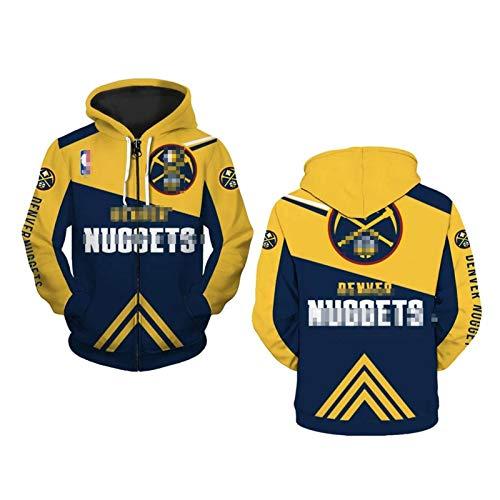 Nuggets - Sudadera con capucha para hombre, impresión digital 3D, manga larga con cremallera, informal, para entrenamiento de baloncesto