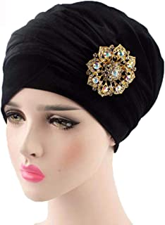 Fashian Lady Crystal Velvet Muslim Turban Pleated Head Wrap Scarf Long Tail Hat Pre Tied Headwear Cancer Chemo Cap WJ-18 (Color : 14, Size : One Size)