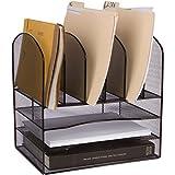 Stylish Desk File Organizer -'Zero' Assembly - 33% More Space - Perfect for Desktop Paper, Inbox Tray, sorter - Black Wire Mesh