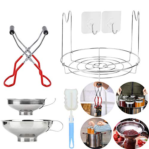 Canning Essentials Set Includes 1PC Canning Rack,12'Stainless Steel Canning Rack,1PC Canning Jar Lifter for Wide and Regular Jars,2PC Canning Funnel, Stainless Steel Funnel,1PC Sponge Cleaning Brush