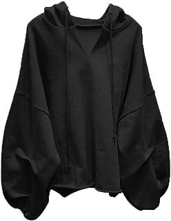Tradebrite Cotton Hoodies Sweatshirts Women Lantern Sleeve Oversize Hoodies V-neck Solid Color Women Clothes Autumn Casual...