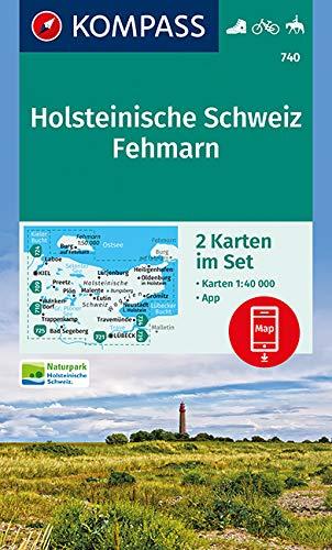 KOMPASS Wanderkarte Holsteinische Schweiz, Fehmarn: 2 Wanderkarten 1:40000 im Set inklusive Karte zur offline Verwendung in der KOMPASS-App. Fahrradfahren. Reiten. (KOMPASS-Wanderkarten, Band 740)