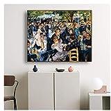 GIRDSS Tanz im Le Moulin de la Galette Von Auguste Renoir Gemälde Leinwanddruck Kunst Ölgemälde Poster Wandkunst Bild-60X70cm ohne Rahmen