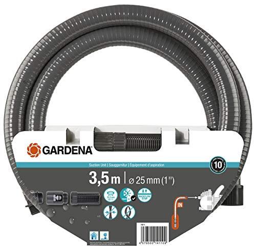 Gardena Sauggarnitur 3.5 m: Robuster Saugschlauch zum Anschluss an die Gartenpumpe, mit Saugfilter und Rückflussstop, Durchmesser 25 mm (1411-20)
