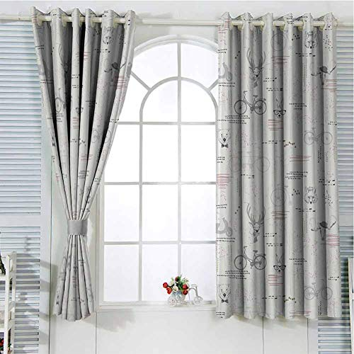 HELLOLEON Indie Grommet Curtains Pale Grey Vermilion Fuchsia Backdrop Photography Curtains 55x40 Inch Minimalist Pattern with Trees Foliage Deer Rabbit Fox Bear Figures