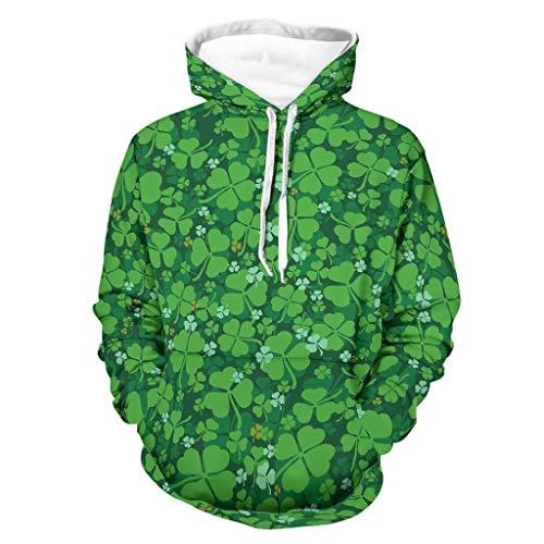 Sudadera para hombre con diseño de trébol verde con estampado de trébol de Lucky Clover de manga larga para conducir a un lado con bolsillos blanco L