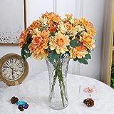 Flores Artificial Flores Artificiales 10 Cabezas Caléndula De Seda Ramo De Novia Dalia DIY Decoración para El Hogar Flores Falsas Crisantemo Gerbera Naranja