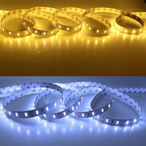 Super hell, nicht wasserdicht, SMD 7020, LED-Lichtleiste, 12 V, 5 m, 300 LEDs, flexibel, Weiß/Warmweiß