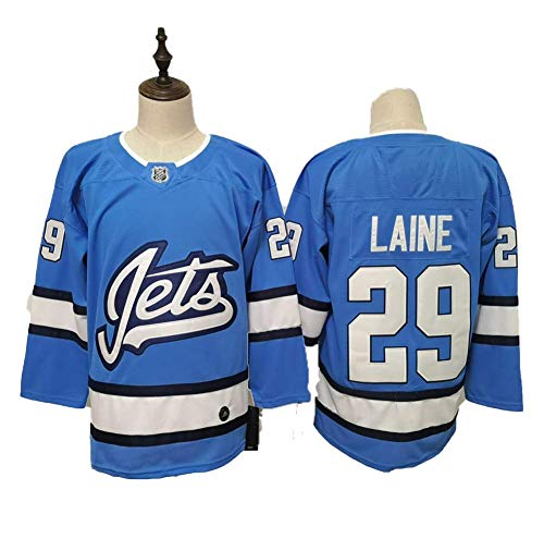 Yajun Patrik Laine#29 Winnipeg Jets Eishockey Trikots Jersey NHL Herren Sweatshirts Atmungsaktiv T-Shirt Bekleidung,Blue,3XL