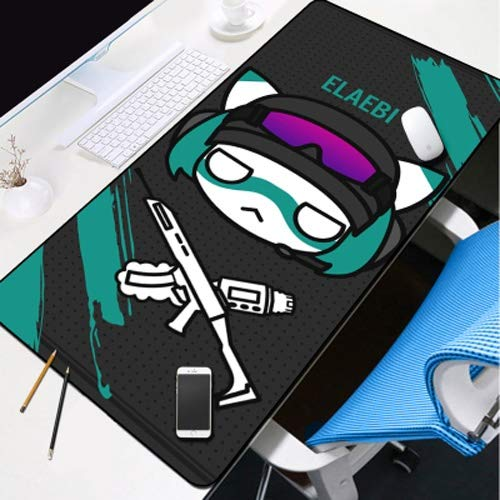 DMWSD Mouse Pad Desktop Pad Rainbow Six Siege Anime Game Character Ela Thunder Mine Q Version Character Portrait Oversized Non-Slip Professional Gaming Mouse Notebook Desktop Notebook Peripherals