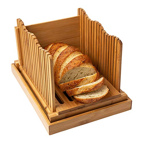 Bamboo Bread Slicer for Homemade Bread Loaf – Wooden Bread Cutting Board with Crumble Holder – Foldable and Compact Loaf Cutter – Thin or Thick Slices