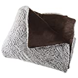 Faux Fur Comforter Set, 3 Piece King Comforter and Sham Set With Mink Faux Fur By Lavish Home – (King Size) (Grey / Chocolate / Black)