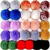 BQTQ 26 Piezas Pompones de Piel Sintética Pompones de Conejo de Piel Bolas para Gorro Llavero Bufanda Guante Bolso (Color Claro)