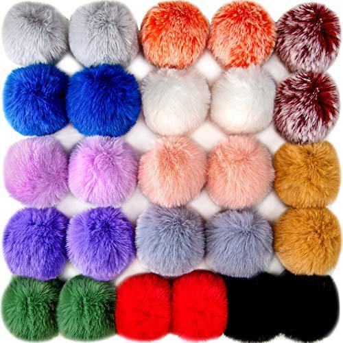BQTQ 26 Stück Pompon Kunstfell Kaninchenfell Fellbommel für Damen und Mädchen Tasche Mützen Anhängern Dekoration, 13 Farben