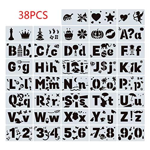 Plantillas de Dibujo 3D, 38 Piezas/Juego Números Letras Plantilla de Dibujo Plantilla Pintura En Relieve Scrapbooking Álbum de Bricolaje Arte Decorativo Arte