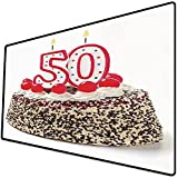 Alfombrilla de ratón (800x400x3 mm) Decoraciones de 50 cumpleaños, Pastel de Crema con Cerezas, Velas encendidas, Chocolate Delicioso Superficie Suave y cómoda de la Alfombrilla de ratón para Juegos