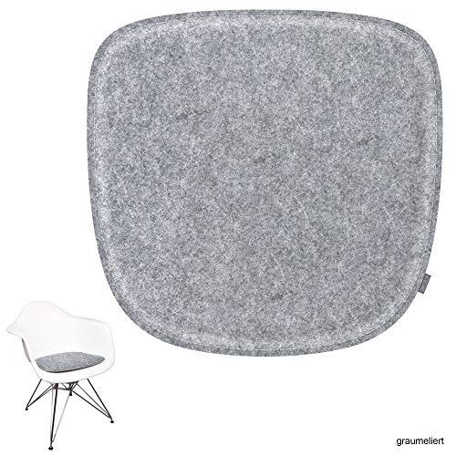 noe Eco Filz Sitzkissen geeignet für Vitra Eames Armchair - DAW,DAR,RAR,DAX,DAL,Rocker - 29 Farben - optional inkl. Antirutsch und gepolstert (Oberseite - Graumeliert)