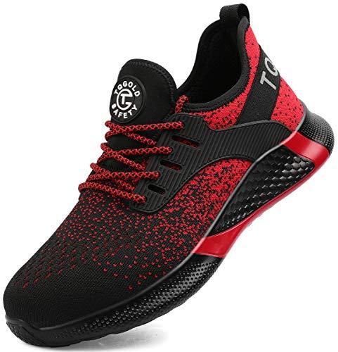 [tqgold] 安全靴 作業靴 鋼先芯(JIS H級相当)軽量 スニーカー ワークシューズ メンズ レディース 通気性 耐摩耗 耐滑ソール セーフティーシューズ 大きいサイズ (レッド 27.0cm)