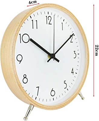 ALEENFOON 8.6 Inch Wooden Quartz Wall Clock 22cm Modern Silent Non-Ticking Wood Wall Clocks Table Clock for Living Room Bedrooms Office Kitchen Indoor Kids (White)