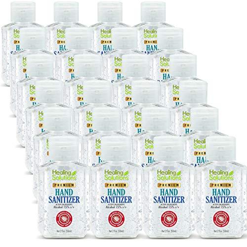 Hand Sanitizer Gel (24 Pack - Mini 2 oz Bottle) - 75% Alcohol - Kills 99.99% of Germs - Small 2oz Bulk Travel Size Individual Personal Pocket 2 Ounce Bottles