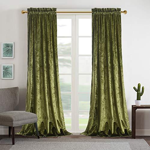 Roslynwood Luxury Moss Green Velvet Room Darkening Blackout Rod Pocket Curtain Panel Drapes Drapery Theater| Bedroom| Living Room| Hotel 52WX84L (2 Panels)