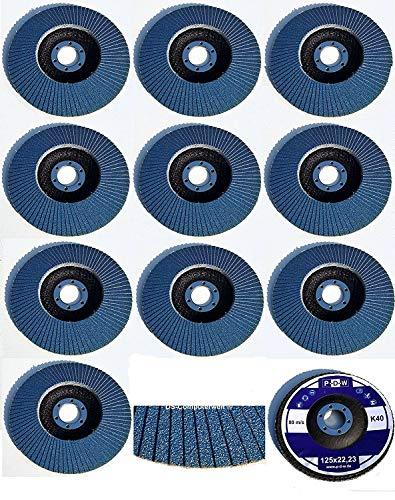 20 Stück INOX Fächerscheiben – Ø 125 mm – MIX-Paket - Gemischte Körnung je 5 x Korn 40/60 / 80/120 – blau/INOX Fächerscheiben/Schleifmopteller/Fächerschleifscheibe