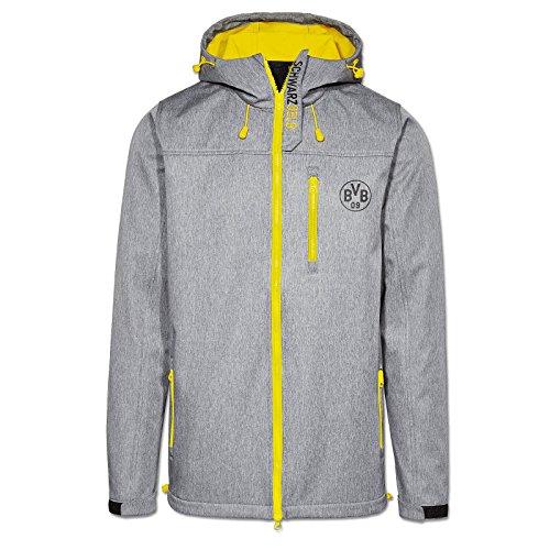 Borussia Dortmund Softshelljacke, Grau, Polyester, 116-164/S-3XL, BVB-Emblem, Reißverschlusstaschen 140