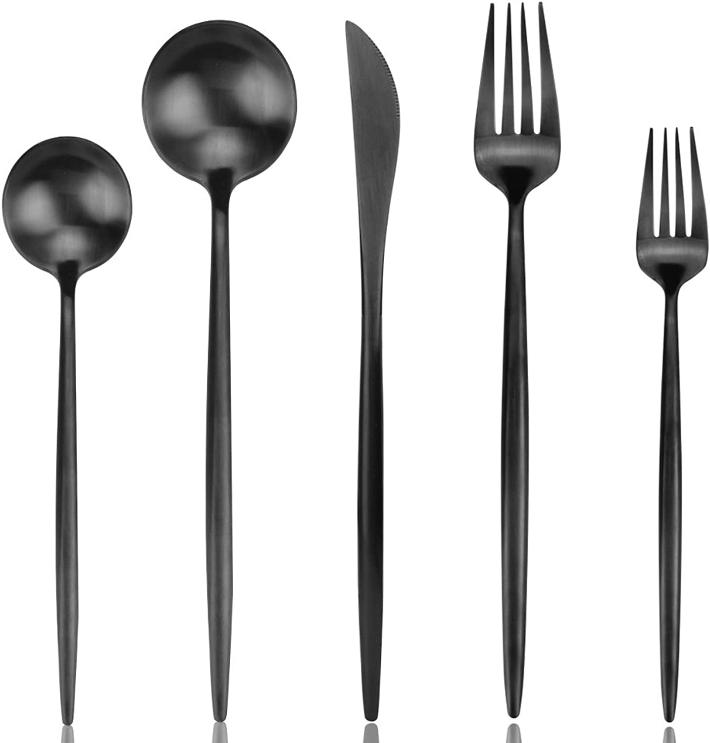 Black Flatware, Black Silverware Set, AOOSY Luxury 20 Pieces 18 10 Stainless Steel Matte Cutlery Utensil Tableware Sets, Include Knives Forks Spoons for Kitchen Service for 4, DISHWASHER SAFE