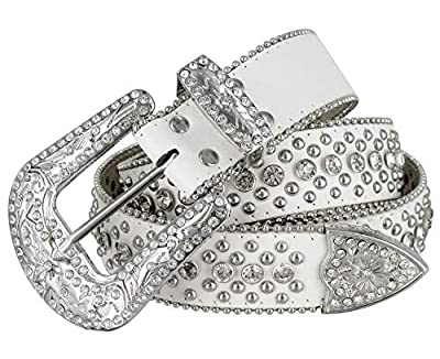 "Women Rhinestone Belt Fashion Western Cowgirl Bling Studded Design Leather Belt 1-1/2""(38mm) wide (White, 38'' XL)"