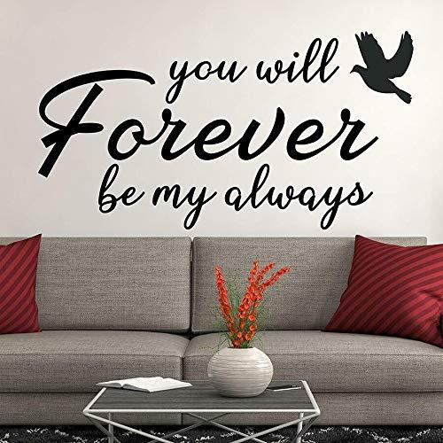 Palabras de amor para siempre, pegatina de pared de vinilo, calcomanía de pared para niños, pareja, dormitorio, habitación de bebé, decoración del hogar, pájaro, paloma, mural de texto