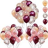 tarumedo 62 globos de látex de color rojo vino y oro rosa con confeti de color oro rosa, globos de helio para fiestas de boda, cumpleaños, baby shower decoración
