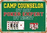 アルミメタルノベルティ危険サインインチ、昼間のキャンプカウンセラー夜のポーカーエキスパート、ホームメタルサインの面白い警告サイン寝室のドアの安全サイン、壁のアールデコポスター