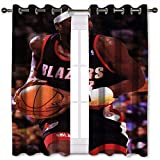 SSKJTC - Cortinas cortas, diseño de acantilado de Robinson Baloncesto niño jugando baloncesto sosteniendo la bola cortinas opacas para habitación de niños W55 x L45