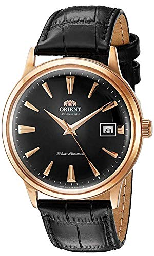 Orient Men's 2nd Gen. Bambino Ver. 1 Stainless Steel Japanese-Automatic Watch with Leather Strap, Black, 21 (Model: FAC00001B0)