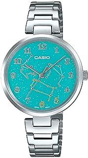 ساعة يد بمينا بلون اخضر بكوكبة برج الجوزاء الفلكي وسوار من الستانلس ستيل للنساء من كاسيو LTP-E07D-3ADR