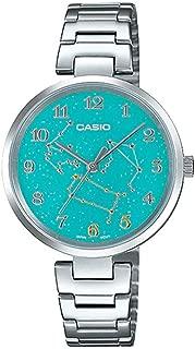 Casio LTP-E07D-3A Women's Stainless Steel Green Gemini Zodiac Motif Dial Analog Watch