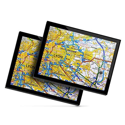 Destination 45638 Lot de 2 sets de table en vinyle 20 x 25 cm Motif carte française de Lyon City France Voyage Chemin de table Tapis de souris effaçable Imperméable