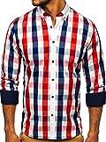 BOLF Hombre Camisa a Cuadros De Manga Larga Cuello Americano Camisa de Algodón Slim fit Estilo Casual 9718 Rojo S [2B2]