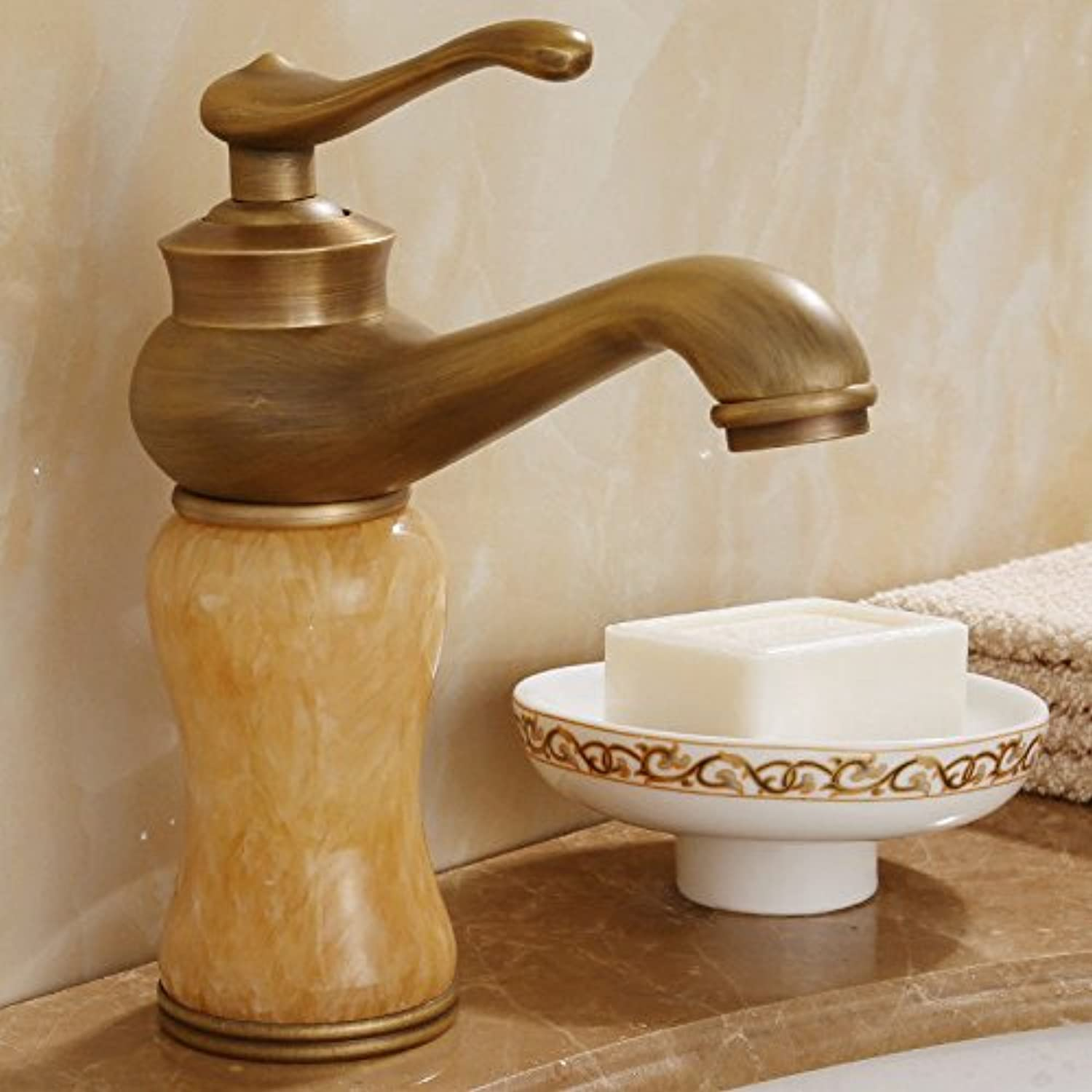 Kokeruup European All Copper Antique Faucet     wash Basin hot and Cold pink gold Bathroom gold Jade Faucet J