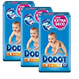Dodot 12Hours Dry Size 4(9to 15kg) 3Packs of 62(186Pieces Total)