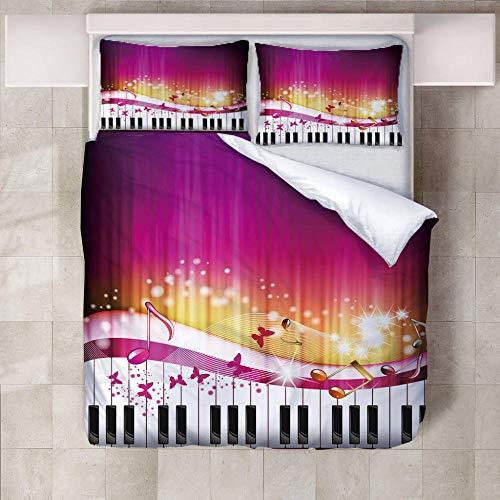 WXhGY Funda de Edredón Púrpura 200x200 cm Musica De Piano,3 Piezas Moderno Impreso Suave Transpirable Funda Nórdica de Microfibra Hipoalergénica con Cremallera + 2 Fundas de Almohada 50x75 cm