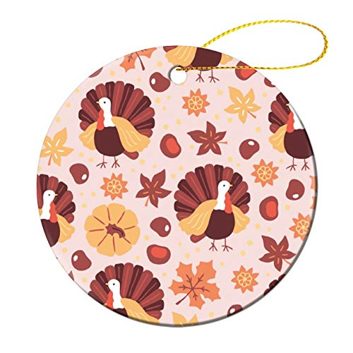 NoBrands Round Souvenir Peacock Fall Season Autumn Leaves Graphics Hanging Print Christmas Party DecorationChristmas Tree Decorating Set Ceramic Slice for Family Members Co-Workers Friends