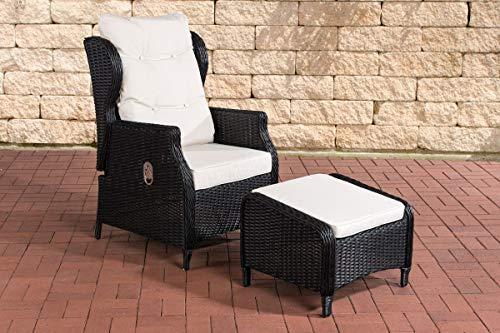 CLP Polyrattan-Sessel Breno Mit Sitzpolster Und Fußhocker I Relaxsessel Mit Verstellbarer Rückenlehne, Farbe:schwarz, Polsterfarbe:Cremeweiß