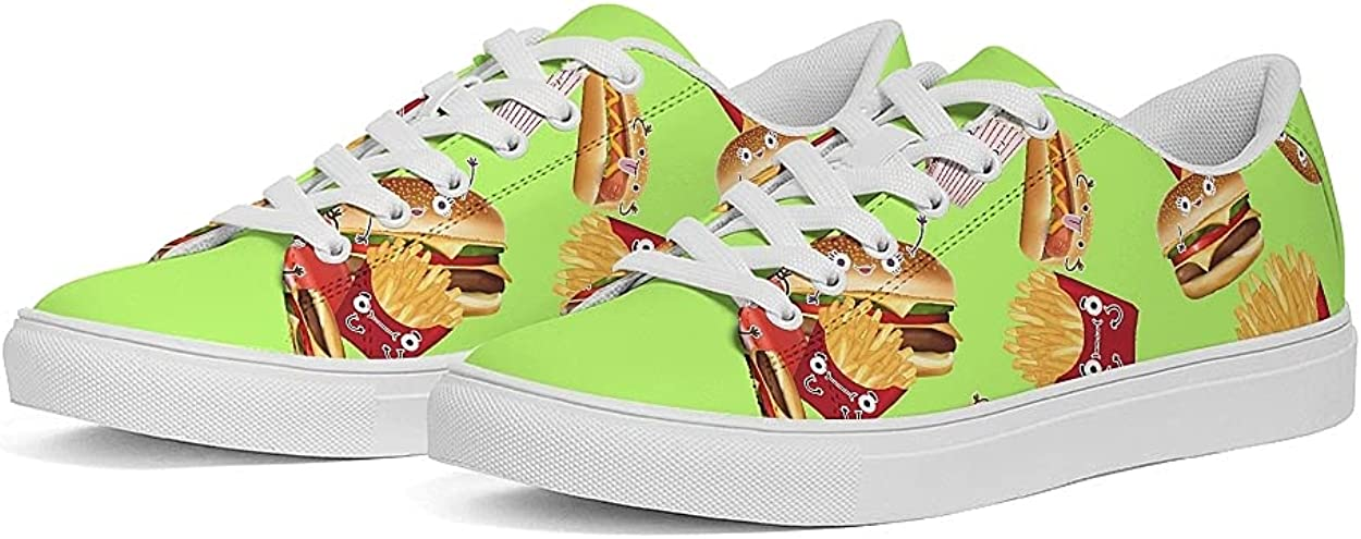 Womens Faux-Leather Sneaker Breathable Walking Tennis Running Shoes Casual Cute Painted Sneakers