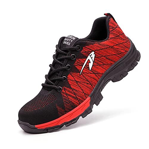 Zapatos de Seguridad Hombres con Puntera de Acero Hombre Mujer Transpirables Zapatillas de Senderismo Deportivas Antideslizante Unisex