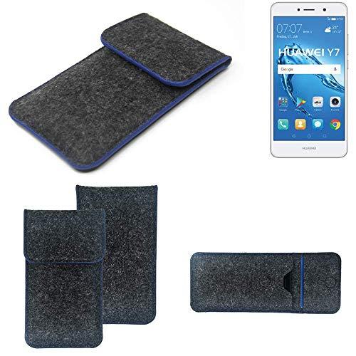 K-S-Trade Handy Schutz Hülle Für Huawei Y7 Dual SIM Schutzhülle Handyhülle Filztasche Pouch Tasche Hülle Sleeve Filzhülle Dunkelgrau, Blauer Rand