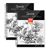 Sketch Book, AGPTEK Art Sketch Book 9''X12', 2 Packs (68lb/100g), Spiral Bound with Easy-to-Remove Pages, Great for Artists, Writers & Illustrators